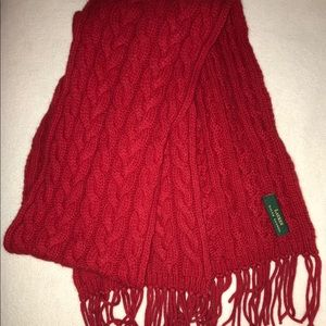 Red Ralph Lauren Cable Knit Scarf